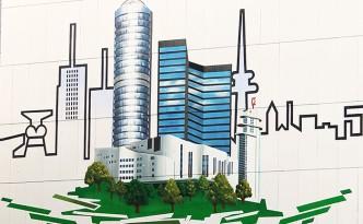 Farbwandel Fassadenkunst Skyline der Stadt Essen