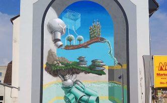 Farbwandel Fassadenkunst Laboratory of Life TransUrban Zollverein von Tim Schild & Jan Schoch
